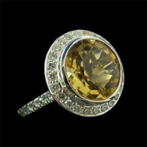 44 Citrine and Dia ring