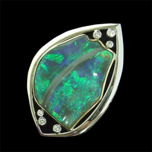 63 Leaf opal brooch